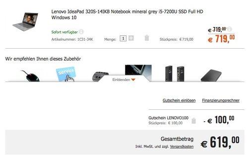 Lenovo Ideapad 320S-14IKB Notebook 14 Zoll Full HD i5-7200U 8GB 256GB SSD Win 10 - jetzt 13% billiger