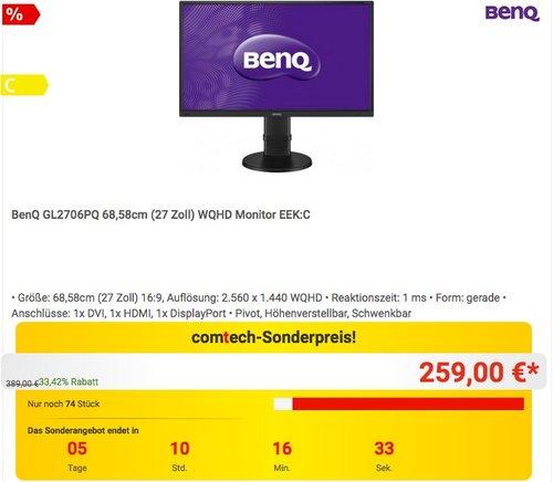 BenQ GL2706PQ 27 Zoll WQHD Monitor  - jetzt 11% billiger