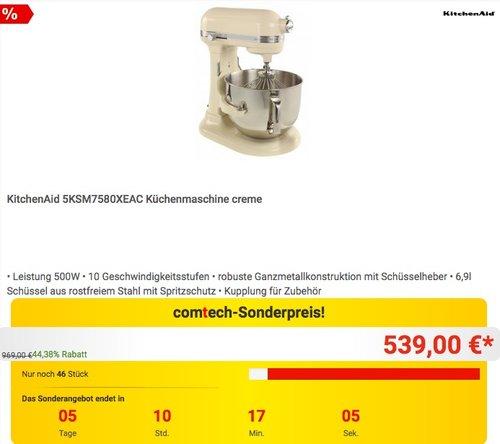 KitchenAid 5KSM7580XEAC Küchenmaschine creme - jetzt 10% billiger