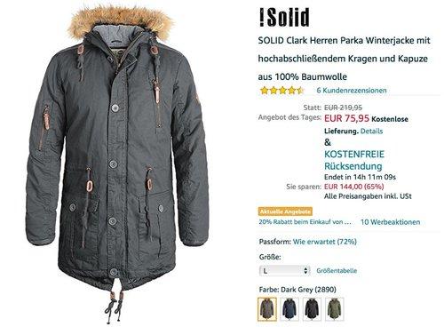 SOLID Clark Herren Parka Winterjacke - jetzt 32% billiger