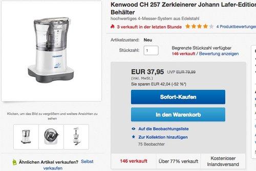 Kenwood CH 257 Zerkleinerer Lafer Edition - jetzt 30% billiger
