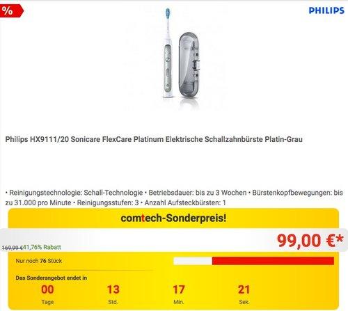 Philips HX9111/20 Sonicare FlexCare Platinum Elektrische Schallzahnbürste - jetzt 15% billiger