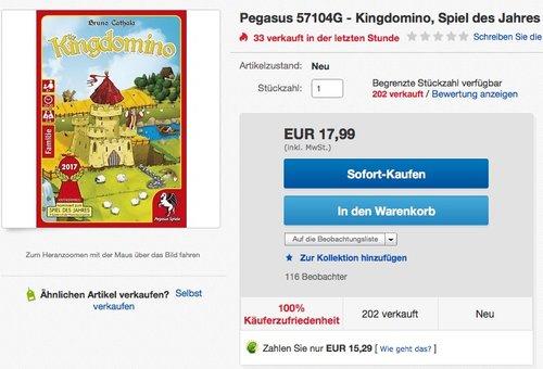 Pegasus Spiele 57104G - Kingdomino - jetzt 24% billiger