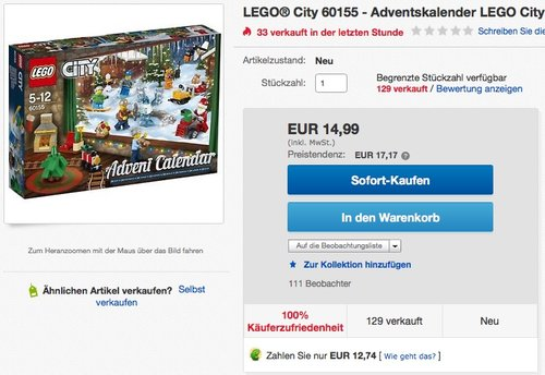 LEGO City 60155 - Adventskalender - jetzt 29% billiger