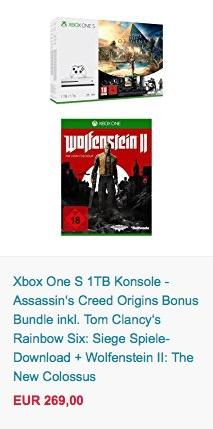 Xbox One S 1TB Konsole - Assassin's Creed Origins Bonus Bundle - jetzt 24% billiger