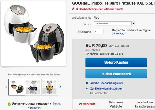 GOURMETmaxx Heißluft Fritteuse XXL 5,5L - jetzt 20% billiger