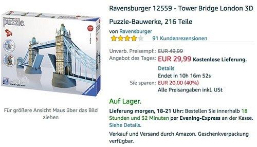 Ravensburger 12559 - Tower Bridge London 3D Puzzle - jetzt 17% billiger