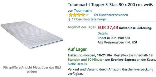 Traumnacht Topper 3-Star, 90 x 200 cm, weiß - jetzt 38% billiger