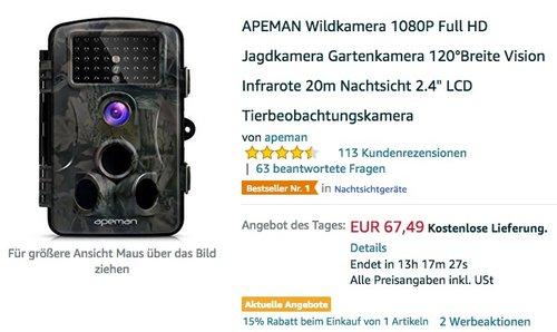 APEMAN Wildkamera 1080P Full HD - jetzt 25% billiger