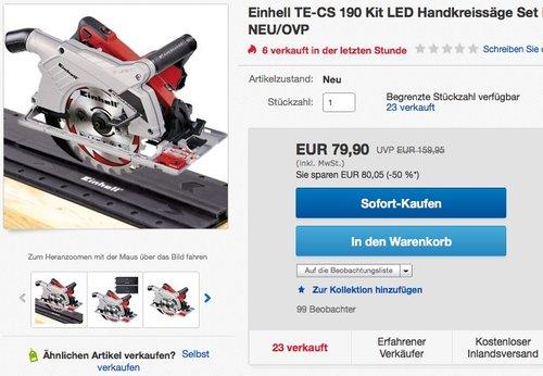 Einhell Handkreissäge TE-CS 190 Kit  - jetzt 11% billiger