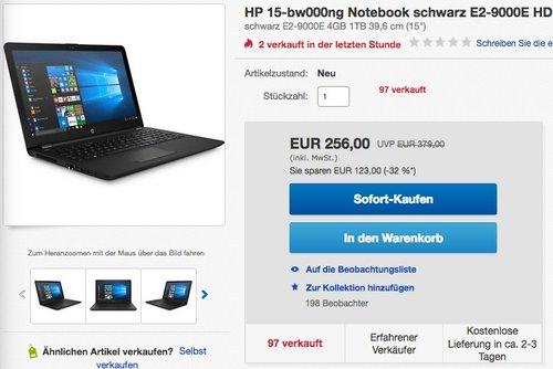 HP 15-bw000ng Notebook - jetzt 22% billiger