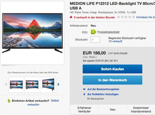 "MEDION LIFE P12312 LED-Backlight TV 80cm/31,5"" DVB-T2 HD DVD Player - jetzt 18% billiger"