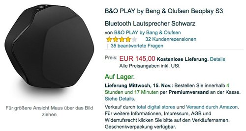 B&O PLAY by Bang & Olufsen Beoplay S3 Bluetooth Lautsprecher - jetzt 14% billiger