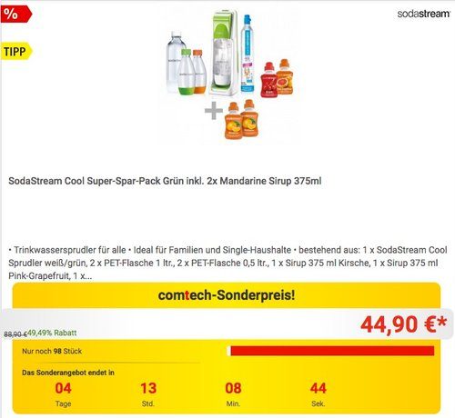 SodaStream Cool Super-Spar-Pack Grün - jetzt 28% billiger