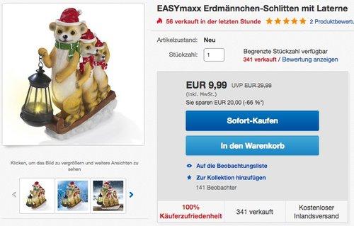 EASYmaxx Erdmännchen-Schlitten mit Laterne - jetzt 29% billiger
