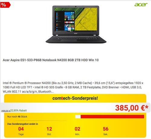 Acer Aspire ES1-533-P86B Notebook - jetzt 9% billiger