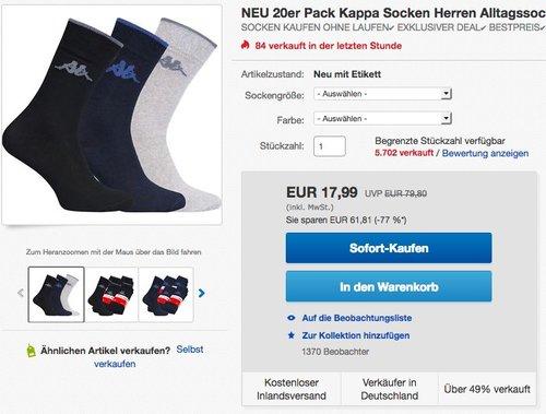 20er Pack Kappa Socken Herren Alltagssocken - jetzt 55% billiger