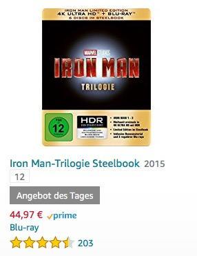 Iron Man-Trilogie Steelbook (4K Ultra HD) [Blu-ray]  - jetzt 25% billiger