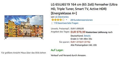 LG 65UJ6519 164 cm (65 Zoll) Fernseher (Ultra HD, Triple Tuner, Smart TV, Active HDR) - jetzt 18% billiger