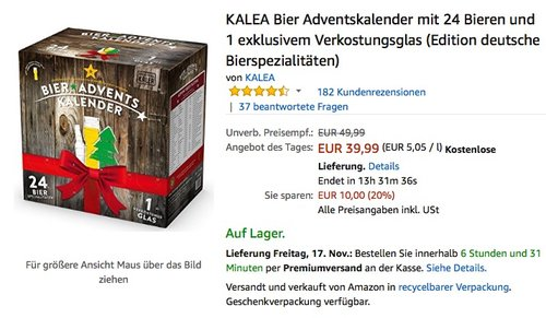 KALEA Bier Adventskalender - jetzt 20% billiger