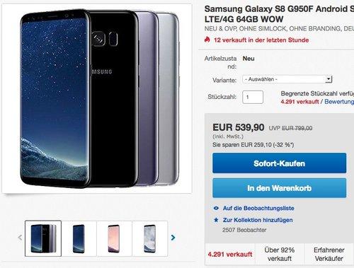 Samsung Galaxy S8 Smartphone - jetzt 9% billiger