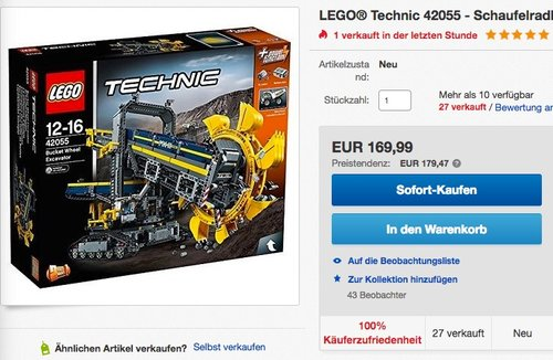 LEGO Technic 42055 - Schaufelradbagger - jetzt 15% billiger