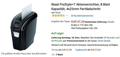 Rexel ProStyle+7 Aktenvernichter - jetzt 23% billiger