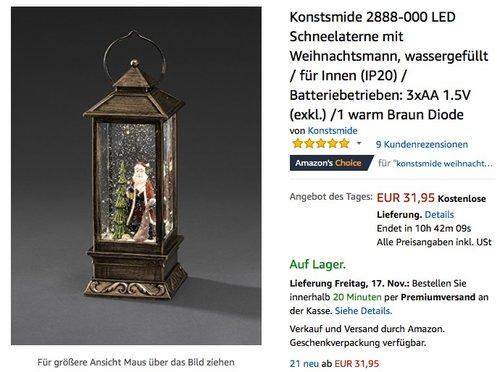 Konstsmide LED Schneelaterne mit Weihnachtsmann - jetzt 20% billiger