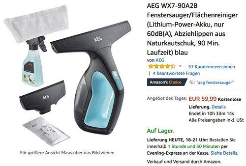 AEG WX7-90A2B Fenstersauger/Flächenreiniger  - jetzt 19% billiger