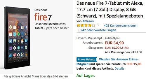 Amazon Fire 7-Tablet 8GB - jetzt 21% billiger