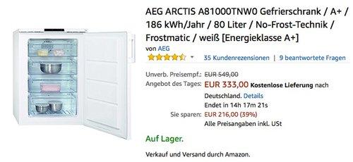 AEG ARCTIS A81000TNW0 Gefrierschrank - jetzt 7% billiger