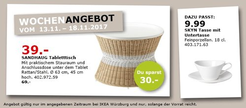 IKEA SANDHAUG Tabletttisch - jetzt 43% billiger