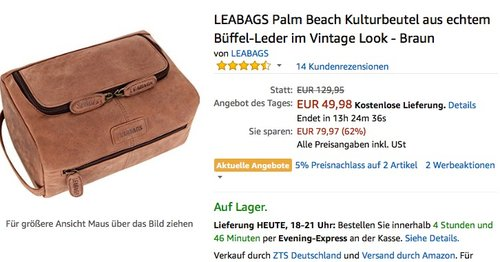 LEABAGS Kulturbeutel aus echtem Büffel-Leder - jetzt 28% billiger