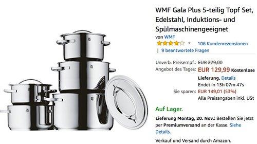 WMF Gala Plus 5-teilig Topf Set - jetzt 20% billiger