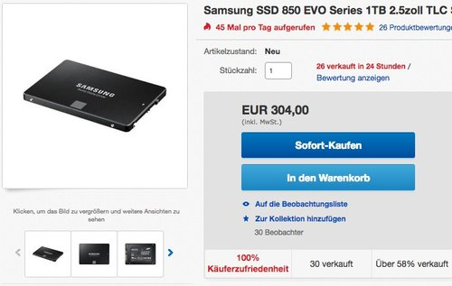 Samsung  850 EVO interne SSD 1TB Festplatte - jetzt 15% billiger