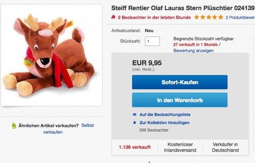Steiff Rentier Olaf Lauras Stern Plüschtier - jetzt 13% billiger