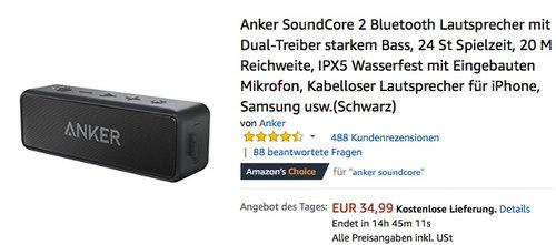 Anker SoundCore 2 Bluetooth Lautsprecher - jetzt 17% billiger