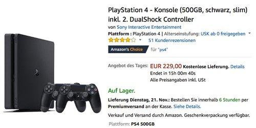 PlayStation 4 - Konsole (500GB, schwarz, slim) inkl. 2. DualShock Controller - jetzt 8% billiger