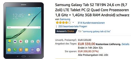 Samsung Galaxy Tab S2 (T819N) 9,7 Zoll LTE Tablet PC 32 GB - jetzt 12% billiger