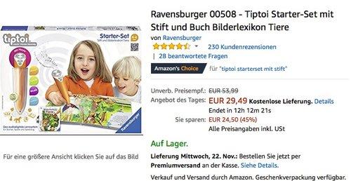 Ravensburger 00508 - Tiptoi Starter-Set mit Stift und Buch Bilderlexikon Tiere - jetzt 18% billiger