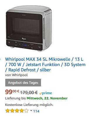 Whirlpool MAX 34 SL Mikrowelle - jetzt 7% billiger
