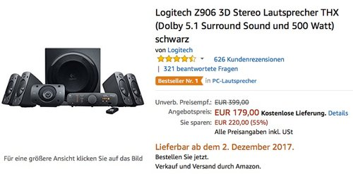 Logitech Z906 3D-Stereo-Lautsprecher THX (Dolby 5.1-Surround-Sound 500 Watt)  - jetzt 16% billiger