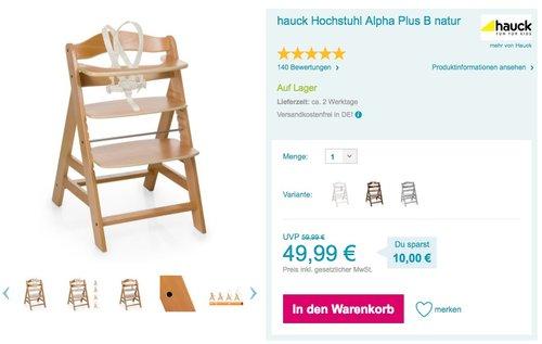 hauck Hochstuhl Alpha Plus Natur - jetzt 17% billiger