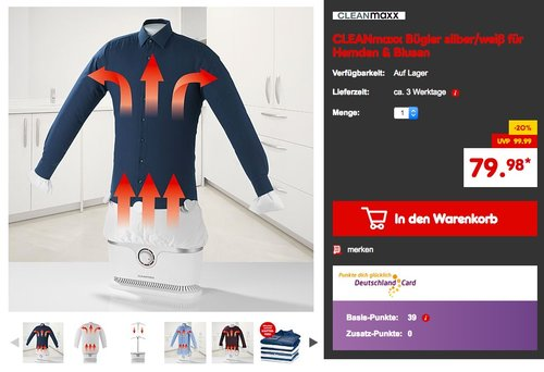 CLEANmaxx Hemden und Blusen Bügler 2in1  - jetzt 20% billiger