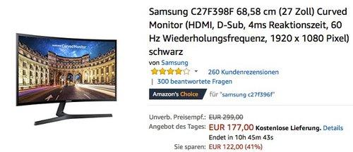 Samsung C27F398F 68,58 cm (27 Zoll) Curved Monitor - jetzt 16% billiger