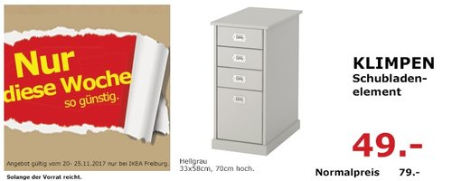 IKEA KLIMPEN Schubladenelement  - jetzt 38% billiger