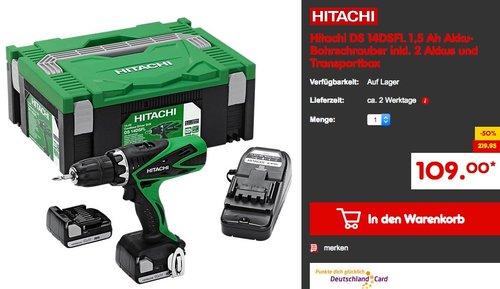 Hitachi DS 14DSFL 1,5 Ah Akku-Bohrschrauber inkl. 2 Akkus und Transportbox - jetzt 30% billiger