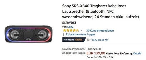 Sony SRS-XB40 Bluetooth Lautsprecher - jetzt 14% billiger