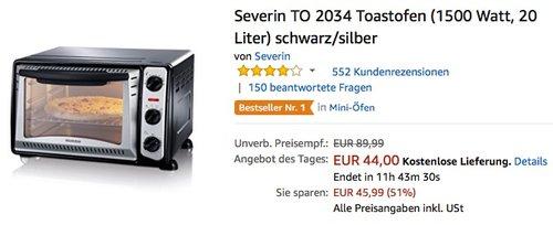 Severin TO 2034 Toastofen - jetzt 16% billiger