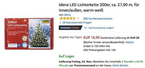 Idena LED Lichterkette 200er warm-weiß - jetzt 23% billiger